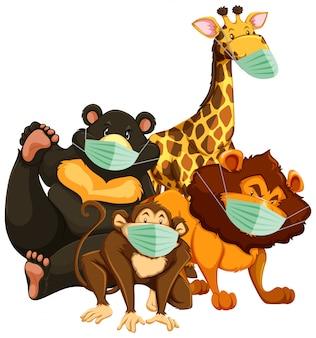 Personnage de dessin animé d'animaux sauvages portant un masque