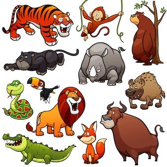 Personnage de dessin animé animaux sauvages