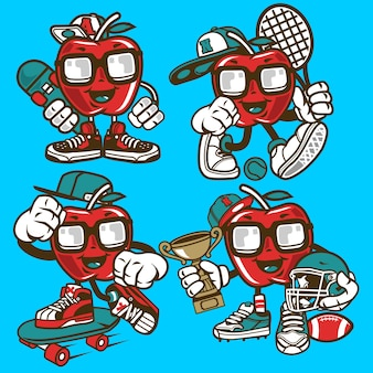 Personnage de dessin animé apple