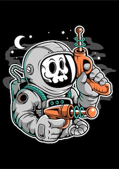 Personnage de dessin animé astronaute ray gun