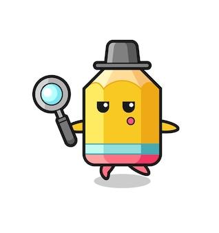 Personnage de dessin animé au crayon recherchant avec une loupe, design de style mignon pour t-shirt, autocollant, élément de logo