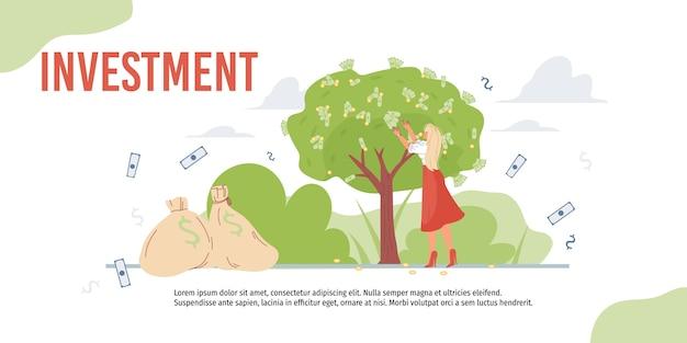 Le personnage de dessin animé augmente les bénéfices et récolte des revenus d'argent - concept d'investissement financier pour le web en ligne, site