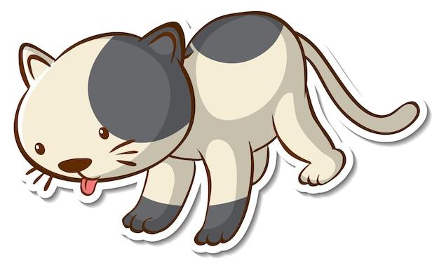 Personnage de dessin animé d'un autocollant de chat