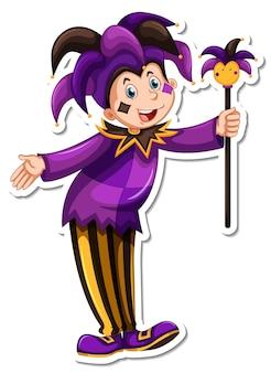 Personnage de dessin animé d'un autocollant de clown