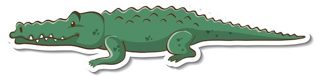 Personnage de dessin animé d'un autocollant crocodile