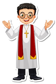 Personnage de dessin animé d'autocollant de prêtre