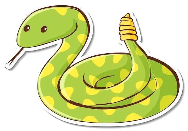 Personnage de dessin animé d'autocollant de serpent à sonnette vert