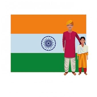Personnage de dessin animé d'avatar de la famille indienne