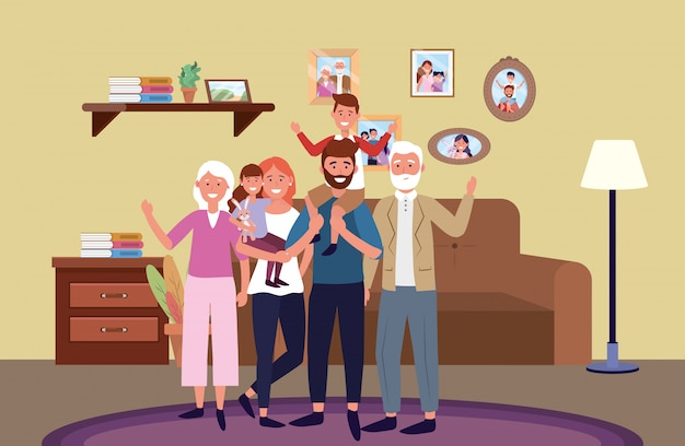 Personnage de dessin animé d'avatar de famille