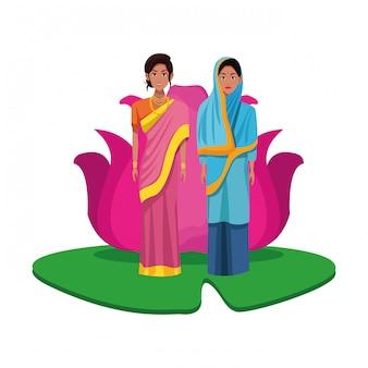Personnage de dessin animé d'avatar de femmes indiennes