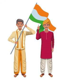 Personnage de dessin animé avatar homme indien