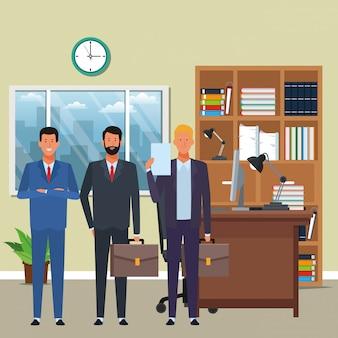 Personnage de dessin animé avatar d'hommes d'affaires dans le bureau