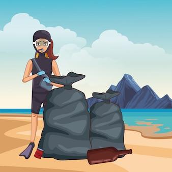 Personnage de dessin animé d'avatar de plongée