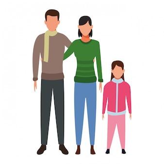 Personnage de dessin animé d'avatars de famille