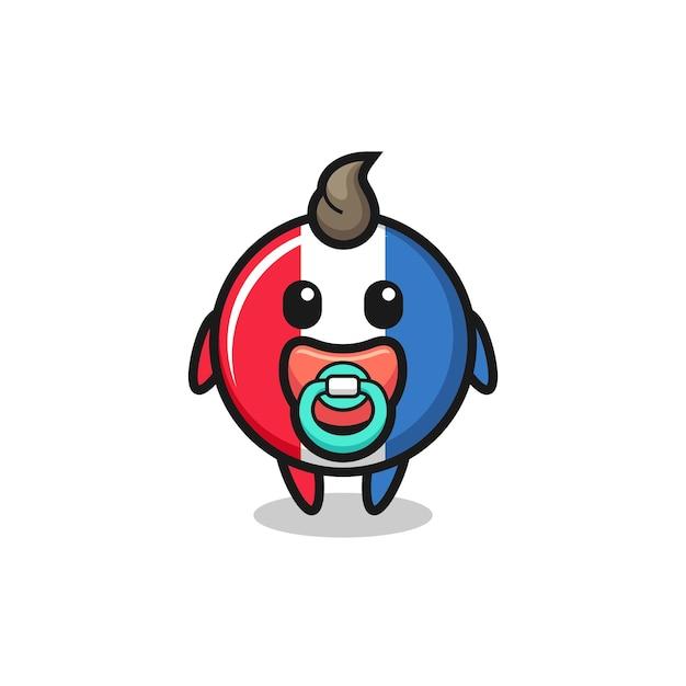 Personnage de dessin animé de badge drapeau france bébé avec tétine, design de style mignon pour t-shirt, autocollant, élément de logo