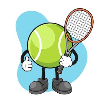 Personnage de dessin animé de balle de tennis avec les pouces vers le haut de pose