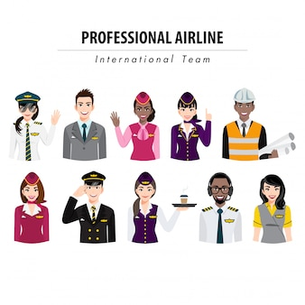 Personnage de dessin animé avec bannière de demi-corps d'action de l'équipage de l'aéroport, équipe de compagnie aérienne professionnelle en uniforme, illustration plate