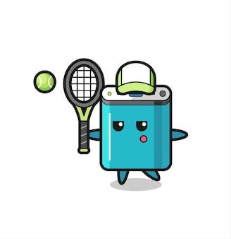 Personnage de dessin animé de la banque d'alimentation en tant que joueur de tennis, design de style mignon pour t-shirt, autocollant, élément de logo