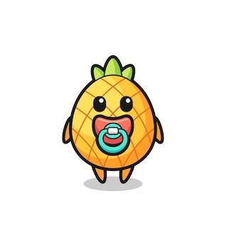 Personnage de dessin animé bébé ananas avec tétine, design de style mignon pour t-shirt, autocollant, élément de logo