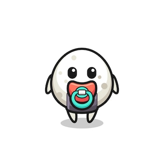 Personnage de dessin animé bébé onigiri avec tétine, design de style mignon pour t-shirt, autocollant, élément de logo