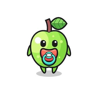 Personnage de dessin animé bébé pomme verte avec tétine, design de style mignon pour t-shirt, autocollant, élément de logo