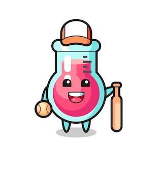 Personnage de dessin animé de bécher de laboratoire en tant que joueur de baseball, design de style mignon pour t-shirt, autocollant, élément de logo