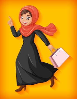 Personnage de dessin animé de belle dame arabe