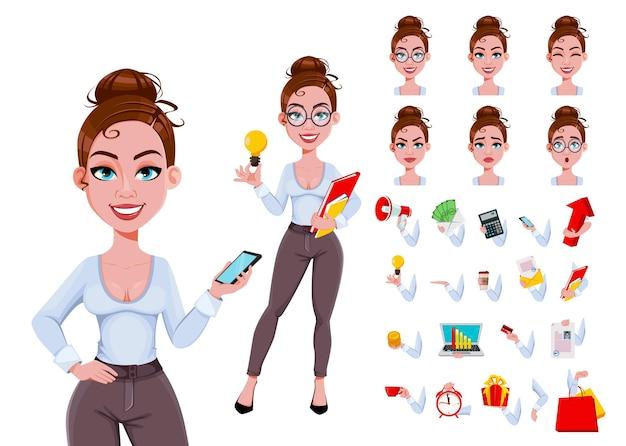 Personnage de dessin animé de belle femme d'affaires moderne