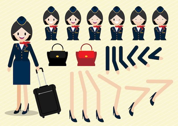 Personnage de dessin animé avec une belle hôtesse de l'air de style animé et une partie du corps