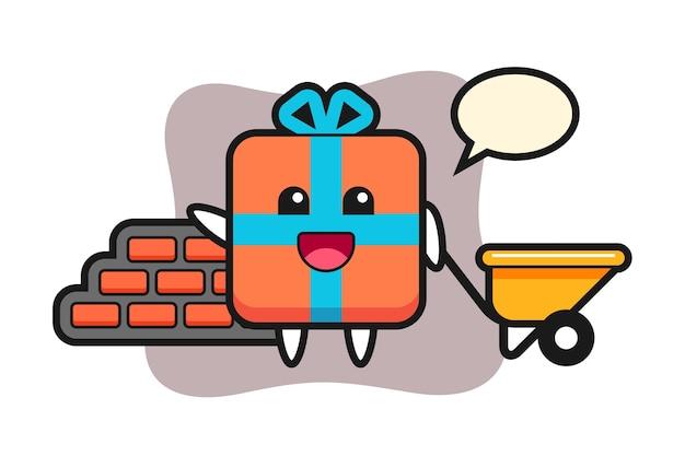 Personnage de dessin animé de boîte-cadeau en tant que constructeur