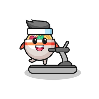 Personnage de dessin animé de bol de nouilles marchant sur le tapis roulant, design de style mignon pour t-shirt, autocollant, élément de logo