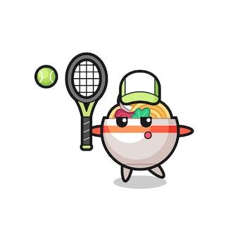Personnage de dessin animé de bol de nouilles en tant que joueur de tennis, design de style mignon pour t-shirt, autocollant, élément de logo