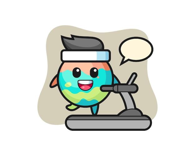 Personnage de dessin animé de bombe de bain marchant sur le tapis roulant, design de style mignon pour t-shirt, autocollant, élément de logo