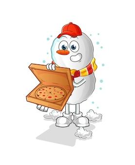Personnage de dessin animé bonhomme de neige pizza livreur