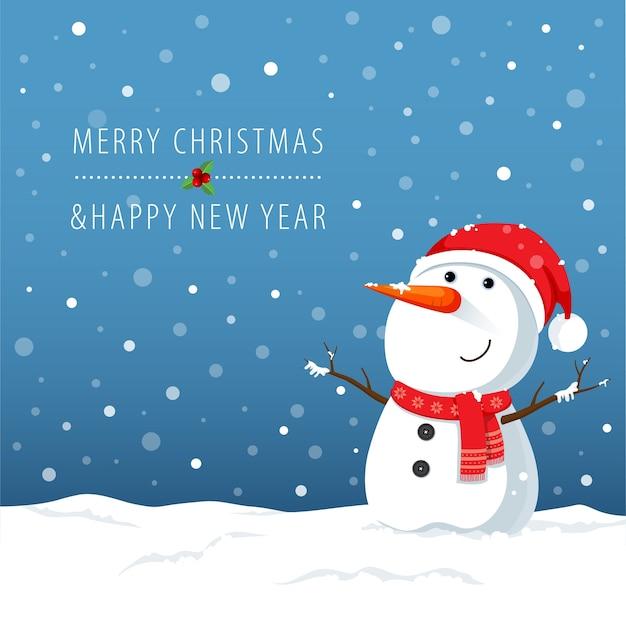 Personnage de dessin animé de bonhomme de neige pour noël
