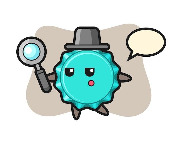 Personnage de dessin animé de bouchon de bouteille à la recherche avec une loupe
