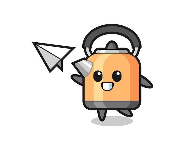 Personnage de dessin animé de bouilloire jetant un avion en papier, design de style mignon pour t-shirt, autocollant, élément de logo