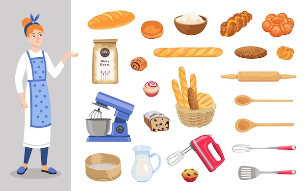 Personnage de dessin animé de boulanger féminin pour ensemble d'illustrations pour enfants