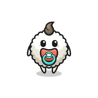 Personnage de dessin animé de boule de riz pour bébé avec tétine, design de style mignon pour t-shirt, autocollant, élément de logo