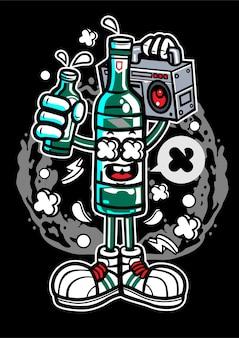 Personnage de dessin animé de bouteille