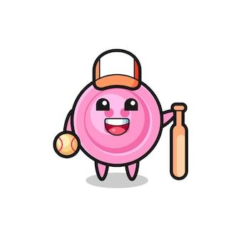 Personnage de dessin animé de bouton de vêtements en tant que joueur de baseball, design mignon