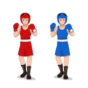 Personnage de dessin animé de boxeur amateur en tenue de sport rouge et bleu.
