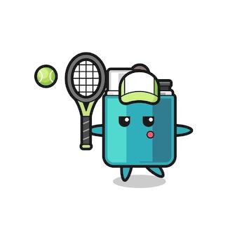 Personnage de dessin animé de briquet en tant que joueur de tennis, design mignon
