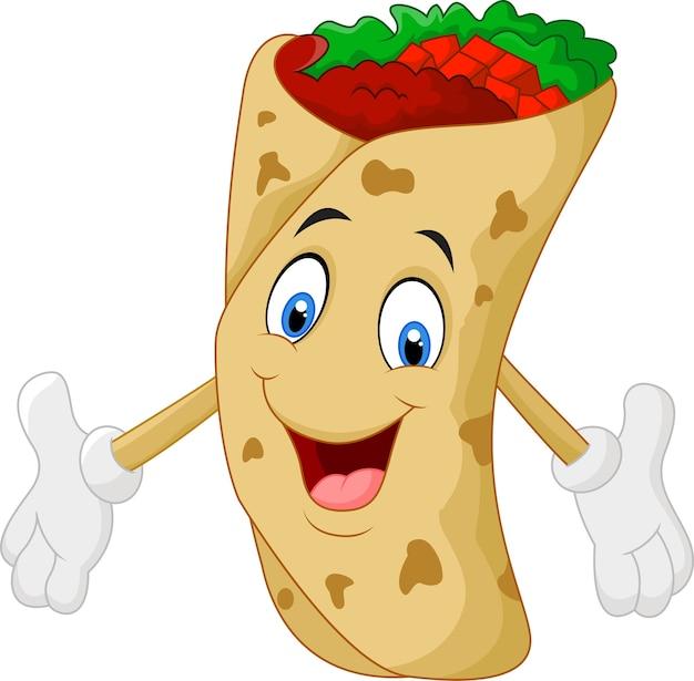 Personnage de dessin animé burrito donnant le pouce en l'air