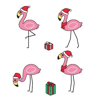 Personnage de dessin animé cadeau flamingo noël père noël chapeau