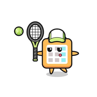 Personnage de dessin animé de calendrier en tant que joueur de tennis, design de style mignon pour t-shirt, autocollant, élément de logo