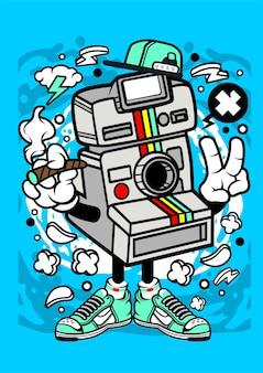 Personnage de dessin animé de caméra rétro