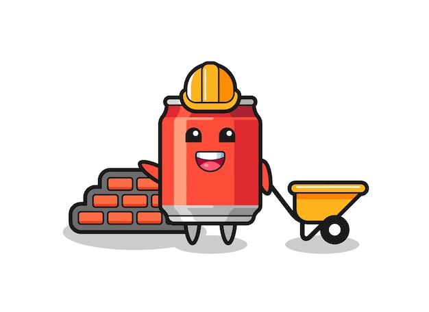 Personnage de dessin animé de canette de boisson en tant que constructeur, design de style mignon pour t-shirt, autocollant, élément de logo