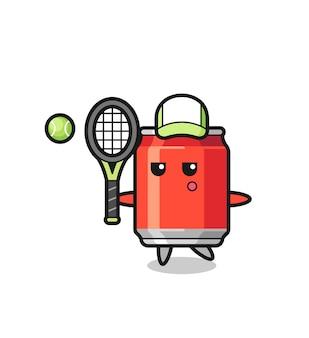 Personnage de dessin animé de canette de boisson en tant que joueur de tennis, design de style mignon pour t-shirt, autocollant, élément de logo