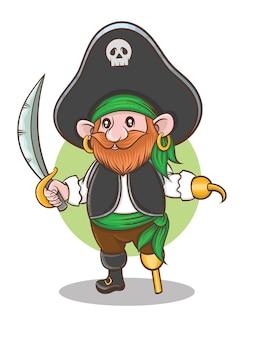 Personnage de dessin animé de capitaine pirate